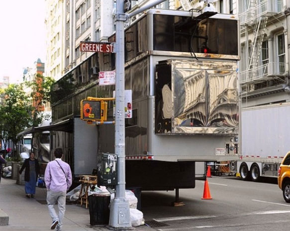 A New York City witness posted this photo of a &#39;monster&#39; double-decker trailer said to be used by Will Smith as he films &#39;Men In Black 3&#39; in New York in May 2011. The mobile structure is reportedly worth &#36;2 million. &#39;Will Smith&#39;s MB3 trailer is bigger than my apt #whatdoesthissayaboutmylife,&#39; Twitter user AlannaRaben said. <span class=meta>(twitpic.com&#47;photos&#47;AlannaRaben)</span>
