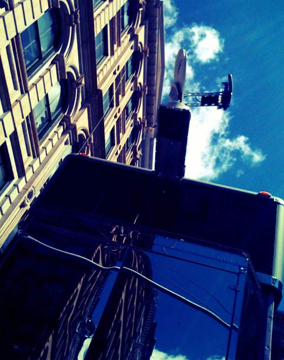 A New York City witness posted this photo of a &#39;monster&#39; double-decker trailer said to be used by Will Smith as he films &#39;Men In Black 3&#39; in New York in May 2011. The mobile structure is reportedly worth &#36;2 million. <span class=meta>(twitpic.com&#47;photos&#47;tanyaryno)</span>