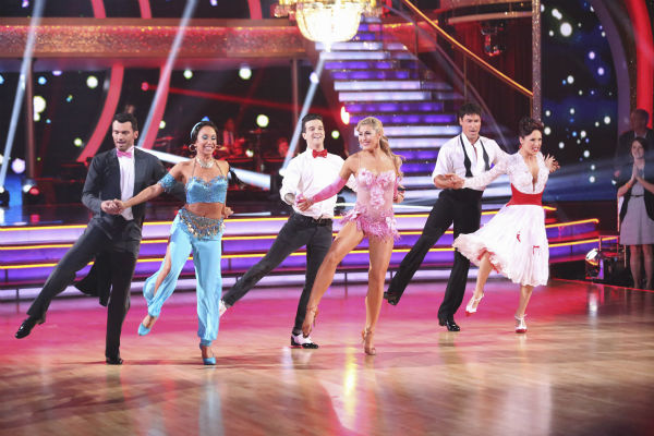 "<div class=""meta image-caption""><div class=""origin-logo origin-image ""><span></span></div><span class=""caption-text"">Pro dancers Tony Dovolani, Cheryl Burke, Mark Ballas, Emma Slater, Maksim Chmerkovskiy and Sharna Burgess dance on week 5 of 'Dancing With The Stars' season 18 -- Disney Night -- on April 14, 2014. (ABC Photo / Adam Taylor)</span></div>"