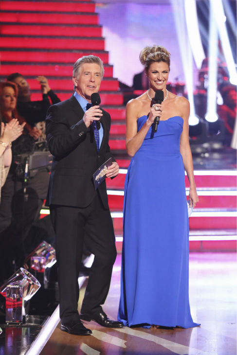 "<div class=""meta ""><span class=""caption-text "">Hosts Tom Bergeron and Erin Andrews appear on week 5 of 'Dancing With The Stars' season 18 -- Disney Night -- on April 14, 2014. (ABC Photo / Adam Taylor)</span></div>"
