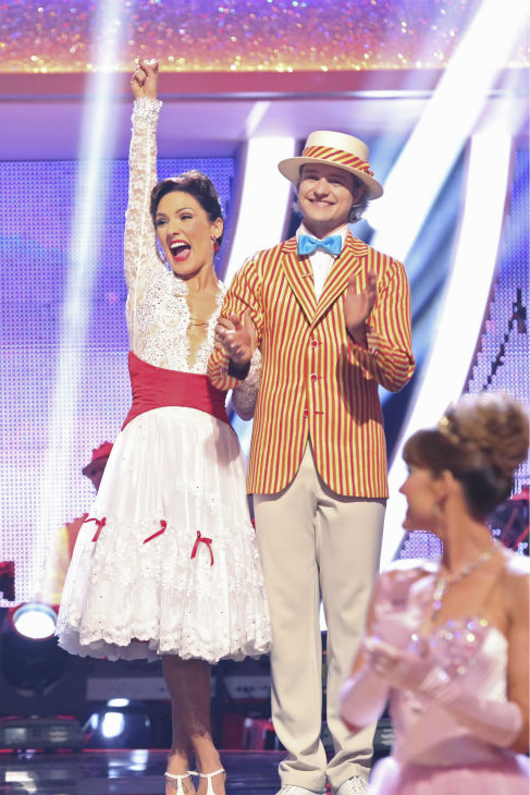 Charlie White and Sharna Burgess react to being safe from elimination on week 5 of &#39;Dancing With The Stars&#39; season 18 -- Disney Night -- on April 14, 2014. They received 37 out of 40 for their &#39;Mary Poppins&#39;-themed Jazz routine. <span class=meta>(ABC Photo &#47; Adam Taylor)</span>