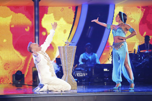 "<div class=""meta image-caption""><div class=""origin-logo origin-image ""><span></span></div><span class=""caption-text"">Drew Carey and Cheryl Burke perform an 'Aladdin'-themed Quickstep on week 5 of 'Dancing With The Stars' season 18 -- Disney Night -- on April 14, 2014. They received 28 out of 40 points from the judges for their dance. (ABC Photo / Adam Taylor)</span></div>"