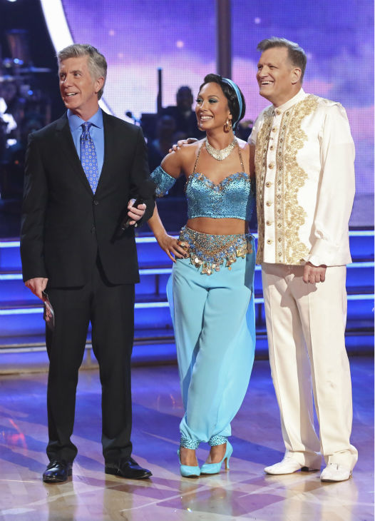 "<div class=""meta ""><span class=""caption-text "">Drew Carey and Cheryl Burke await their fate on week 5 of 'Dancing With The Stars' season 18 -- Disney Night -- on April 14, 2014. They received 28 out of 40 points from the judges for their 'Aladdin'-themed Quickstep. (ABC Photo / Adam Taylor)</span></div>"