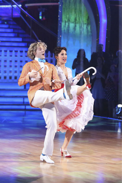 Charlie White and Sharna Burgess perform a &#39;Mary Poppins&#39;-themed Jazz routine on week 5 of &#39;Dancing With The Stars&#39; season 18 -- Disney Night -- on April 14, 2014. They received 37 out of 40 points from the judges for their dance. <span class=meta>(ABC Photo &#47; Adam Taylor)</span>