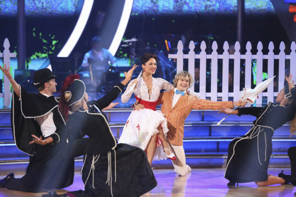 "<div class=""meta image-caption""><div class=""origin-logo origin-image ""><span></span></div><span class=""caption-text"">Charlie White and Sharna Burgess perform a 'Mary Poppins'-themed Jazz routine on week 5 of 'Dancing With The Stars' season 18 -- Disney Night -- on April 14, 2014. They received 37 out of 40 points from the judges for their dance. (ABC Photo / Adam Taylor)</span></div>"