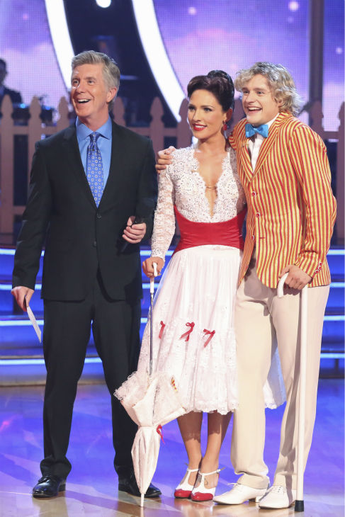 Charlie White and Sharna Burgess await their fate on week 5 of &#39;Dancing With The Stars&#39; season 18 -- Disney Night -- on April 14, 2014. They received 37 out of 40 for their &#39;Mary Poppins&#39;-themed Jazz routine. <span class=meta>(ABC Photo &#47; Adam Taylor)</span>
