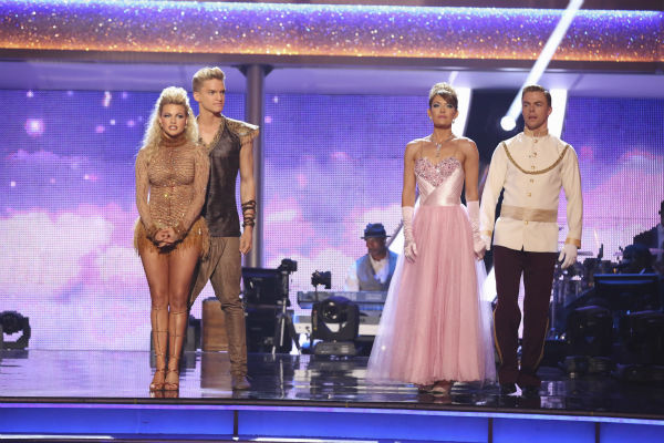 Cody Simpson and Witney Carson and Amy Purdy and Derek Hough await their fate on week 5 of &#39;Dancing With The Stars&#39; season 18 -- Disney Night -- on April 14, 2014. Simpson and Carson received 34 out of 40 points from the judges for their &#39;Lion King&#39;-themed Samba. Purdy and Hough received 37 out of 40 points from the judges for their &#39;Cinderella&#39;-themed Waltz. <span class=meta>(ABC Photo &#47; Adam Taylor)</span>