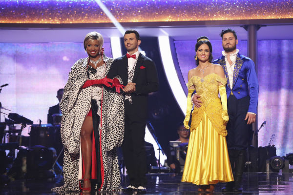 NeNe Leakes and Tony Dovolani and Danica McKellar and Val Chmerkovskiy await their fate on week 5 of &#39;Dancing With The Stars&#39; season 18 -- Disney Night -- on April 14, 2014. Leakes and Dovolani received 36 out of 40 points from the judges for their &#39;101 Dalmations&#39; Cruella De Vil&#39;-themed Fox Trot. McKellar and Chmerkovskiy received 39 out of 40 points from the judges for their &#39;Beauty and the Beast&#39;-themed Quick Step. <span class=meta>(ABC Photo &#47; Adam Taylor)</span>