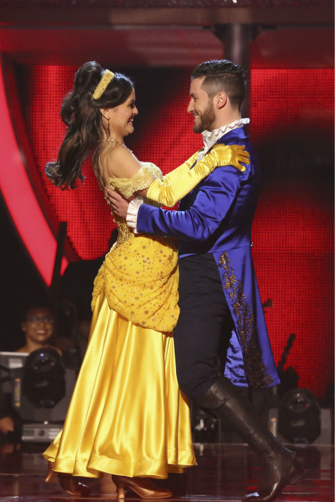 Danica McKellar and Val Chmerkovskiy react to being safe from elimination on week 5 of &#39;Dancing With The Stars&#39; season 18 -- Disney Night -- on April 14, 2014. They received 39 out of 40 points from the judges for their &#39;Beauty and the Beast&#39;-themed Quick Step. <span class=meta>(ABC Photo &#47; Adam Taylor)</span>
