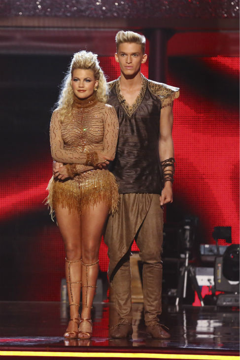 "<div class=""meta ""><span class=""caption-text "">Cody Simpson and Witney Carson await their fate on week 5 of 'Dancing With The Stars' season 18 -- Disney Night -- on April 14, 2014. They received 34 out of 40 points from the judges for their 'Lion King'-themed Samba. (ABC Photo / Adam Taylor)</span></div>"
