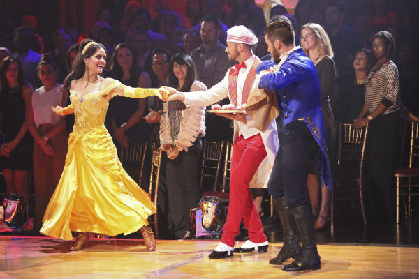 "<div class=""meta ""><span class=""caption-text "">Danica McKellar and Valentin Chmerkovskiy dance a 'Beauty and the Beast'-themed Quick Step on week 5 of 'Dancing With The Stars' season 18 -- Disney Night -- on April 14, 2014. They received 39 out of 40 points from the judges. (ABC Photo / Adam Taylor)</span></div>"