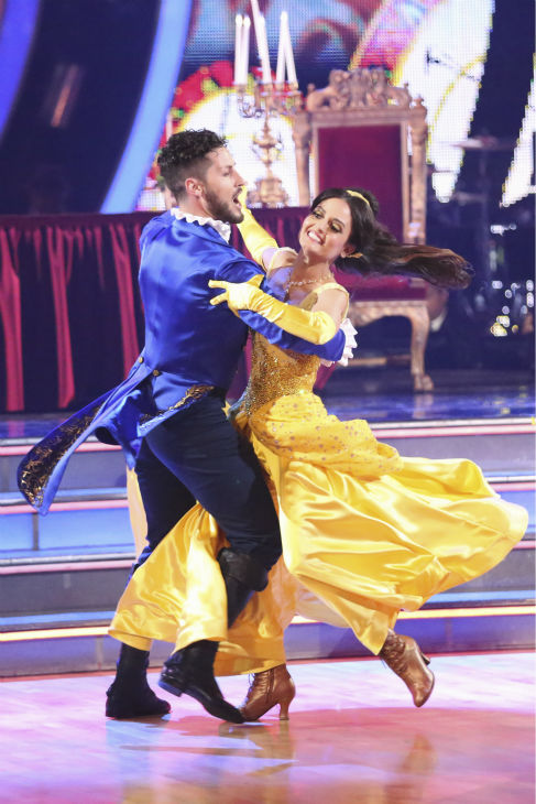 "<div class=""meta image-caption""><div class=""origin-logo origin-image ""><span></span></div><span class=""caption-text"">Danica McKellar and Valentin Chmerkovskiy dance a 'Beauty and the Beast'-themed Quick Step on week 5 of 'Dancing With The Stars' season 18 -- Disney Night -- on April 14, 2014. They received 39 out of 40 points from the judges. (ABC Photo / Adam Taylor)</span></div>"