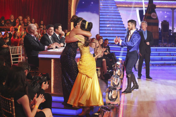 Danica McKellar hugs co-judge Carrie Ann Inaba as she and Valentin Chmerkovskiy dance a &#39;Beauty and the Beast&#39;-themed Quick Step on week 5 of &#39;Dancing With The Stars&#39; season 18 -- Disney Night -- on April 14, 2014. They received 39 out of 40 points from the judges. <span class=meta>(ABC Photo &#47; Adam Taylor)</span>