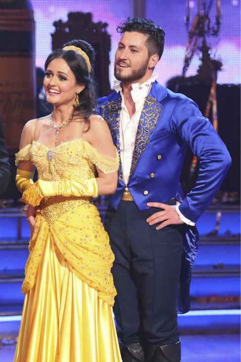 "<div class=""meta ""><span class=""caption-text "">Danica McKellar and Valentin Chmerkovskiy await their fate on week 5 of 'Dancing With The Stars' season 18 -- Disney Night -- on April 14, 2014. They received 39 out of 40 points from the judges for their 'Beauty and the Beast'-themed Quick Step. (ABC Photo / Adam Taylor)</span></div>"