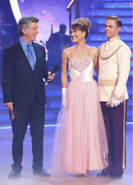 Amy Purdy and Derek Hough await their fate on week 5 of &#39;Dancing With The Stars&#39; season 18 - Disney Night -- on April 14, 2014. They received 37 out of 40 points from the judges for their &#39;Cinderella&#39;-themed Waltz. <span class=meta>(ABC Photo &#47; Adam Taylor)</span>