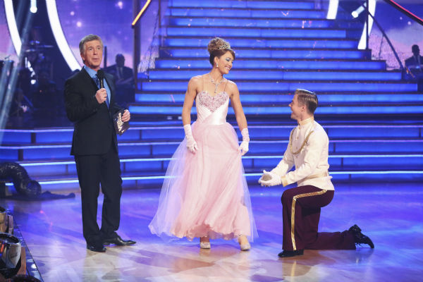 "<div class=""meta image-caption""><div class=""origin-logo origin-image ""><span></span></div><span class=""caption-text"">Amy Purdy and Derek Hough appear on week 5 of 'Dancing With The Stars' season 18 - Disney Night -- on April 14, 2014. They received 37 out of 40 points from the judges for their 'Cinderella'-themed Waltz. (ABC Photo / Adam Taylor)</span></div>"