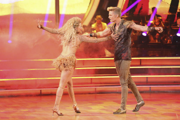 "<div class=""meta image-caption""><div class=""origin-logo origin-image ""><span></span></div><span class=""caption-text"">Cody Simpson and Witney Carson perform a 'Lion King'-themed Samba on week 5 of 'Dancing With The Stars' season 18 -- Disney Night -- on April 14, 2014. They received 34 out of 40 points from the judges for their dance. (ABC Photo / Adam Taylor)</span></div>"
