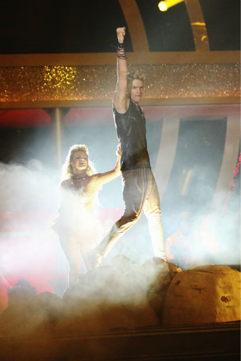 "<div class=""meta ""><span class=""caption-text "">Cody Simpson and Witney Carson perform a 'Lion King'-themed Samba on week 5 of 'Dancing With The Stars' season 18 -- Disney Night -- on April 14, 2014. They received 34 out of 40 points from the judges for their dance. (ABC Photo / Adam Taylor)</span></div>"