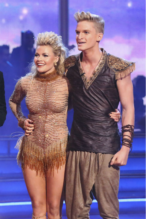 "<div class=""meta image-caption""><div class=""origin-logo origin-image ""><span></span></div><span class=""caption-text"">Cody Simpson and Witney Carson await their fate on week 5 of 'Dancing With The Stars' season 18 -- Disney Night -- on April 14, 2014. They received 34 out of 40 points from the judges for their 'Lion King'-themed Samba. (ABC Photo / Adam Taylor)</span></div>"
