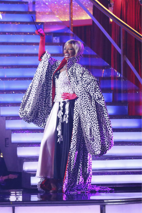 NeNe Leakes and Tony Dovolani &#40;not pictured&#41; perform a &#39;101 Dalmations&#39; Cruella de Vil&#39;-themed Fox Trot on week 5 of &#39;Dancing With The Stars&#39; on April 14, 2014. They received 36 out of 40 points from the judges for their dance. <span class=meta>(ABC Photo &#47; Adam Taylor)</span>