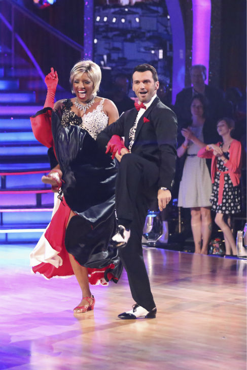 NeNe Leakes and Tony Dovolani perform a 101 Dalmations&#39; Cruella de Vil&#39;-themed Fox Trot on week 5 of &#39;Dancing With The Stars&#39; season 18 -- Disney Night -- on April 14, 2014. They received 36 out of 40 points from the judges for their dance. <span class=meta>(ABC Photo &#47; Adam Taylor)</span>