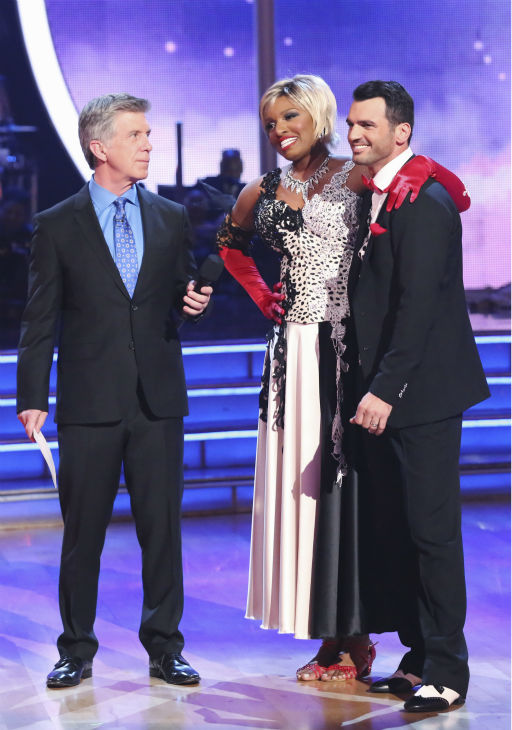 NeNe Leakes and Tony Dovolani await their fate on week 5 of &#39;Dancing With The Stars&#39; season 18 -- Disney Night -- on April 14, 2014. They received 36 out of 40 points from the judges for their &#39;101 Dalmations&#39; Cruella de Vil&#39;-themed Fox Trot. <span class=meta>(ABC Photo &#47; Adam Taylor)</span>