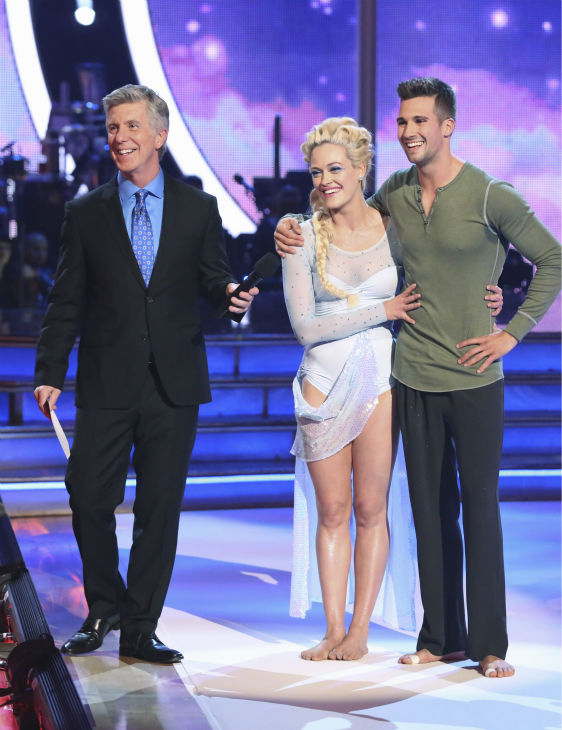 "<div class=""meta image-caption""><div class=""origin-logo origin-image ""><span></span></div><span class=""caption-text"">James Maslow and Peta Murgatroyd await their fate on week 5 of 'Dancing With The Stars' on April 14, 2014. They received 40 out of 40 points from the judges for their 'Frozen'-themed Contemporary routine. (ABC Photo / Adam Taylor)</span></div>"