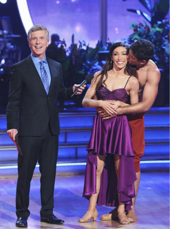 Meryl Davis and Maksim Chmerkovskiy await their fate on week 5 of &#39;Dancing With The Stars&#39; on April 14, 2014. They received 36 out of 40 points from the judges for their &#39;Jungle Book&#39;-themed Samba. <span class=meta>(ABC Photo &#47; Adam Taylor)</span>