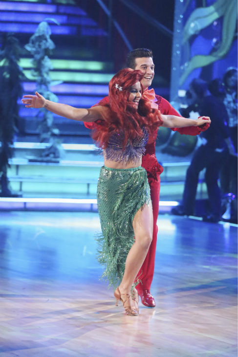 "<div class=""meta ""><span class=""caption-text "">Candace Cameron Bure and Mark Ballas dance a 'Little Mermaid'-themed Samba on week 5 of 'Dancing With The Stars' season 18 -- Disney Night -- on April 14, 2014. They received 35 out of 40 points from the judges for their dance. (ABC Photo / Adam Taylor)</span></div>"