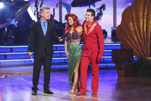 "<div class=""meta ""><span class=""caption-text "">Candace Cameron Bure and Mark Ballas await their fate on week 5 of 'Dancing With The Stars' on April 14, 2014. They received 35 out of 40 points from the judges for their 'Little Mermaid'-themed Samba. (ABC Photo / Adam Taylor)</span></div>"