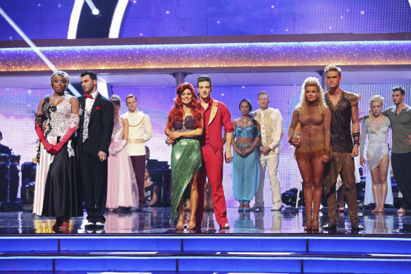 NeNe Leakes and Tony Dovolani, Candace Cameron Bure and Mark Ballas and Cody Simpson and Witney Carson await their fate on week 5 of &#39;Dancing With The Stars&#39; season 18 -- Disney Night -- on April 14, 2014. Leakes and Dovolani received 36 out of 40 points from the judges for their &#39;101 Dalmations&#39; Cruella De Vil&#39;-themed Fox Trot. Bure and Ballas received 35 out of 40 points from the judges for their &#39;Little Mermaid&#39;-themed Samba. Simpson and Carson received 34 out of 40 points from the judges for their &#39;Lion King&#39;-themed Samba. <span class=meta>(ABC Photo &#47; Adam Taylor)</span>