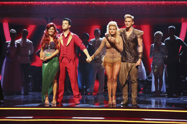 "<div class=""meta ""><span class=""caption-text "">Candace Cameron Bure and Mark Ballas and Cody Simpson and Witney Carson await their fate on week 5 of 'Dancing With The Stars' season 18 -- Disney Night -- on April 14, 2014. Bure and Ballas received 35 out of 40 points from the judges for their 'Little Mermaid'-themed Samba. Simpson and Carson received 34 out of 40 points from the judges for their 'Lion King'-themed Samba. (ABC Photo / Adam Taylor)</span></div>"