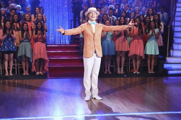 "<div class=""meta image-caption""><div class=""origin-logo origin-image ""><span></span></div><span class=""caption-text"">Charlie White and Sharna Burgess (not pictured) perform a 'Mary Poppins'-themed Jazz routine on week 5 of 'Dancing With The Stars' season 18 -- Disney Night -- on April 14, 2014. They received 37 out of 40 points from the judges for their dance. (ABC Photo / Adam Taylor)</span></div>"