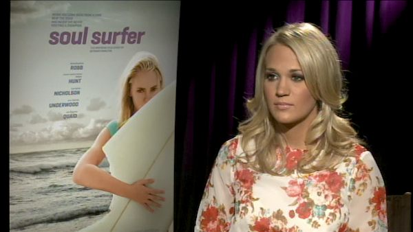 Carrie Underwood talks to OnTheRedCarpet.com about 'Soul Surfer' in an interview in April 2011.