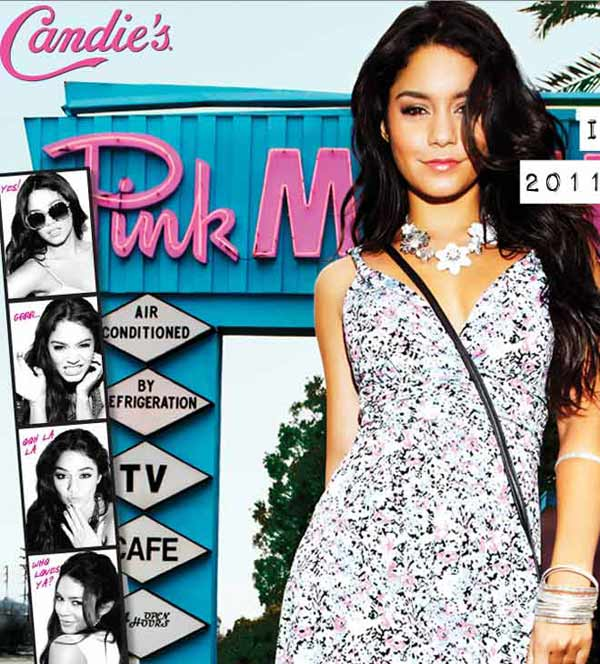 Vanessa Hudgens appears in a 2011 promotional photo taken for the Spring 2011 ad campaign of Candie&#39;s apparel, available at Kohl&#39;s stores. <span class=meta>(Candie&#39;s &#47; candies.com &#47; Iconix Brand Group)</span>