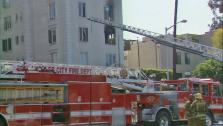 A fire broke out at an apartment building in West Hollywood Friday, March 22, 2013. - Provided courtesy of KABC