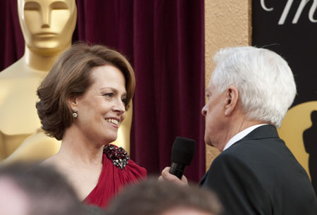 Sigourney Weaver on the red carpet,