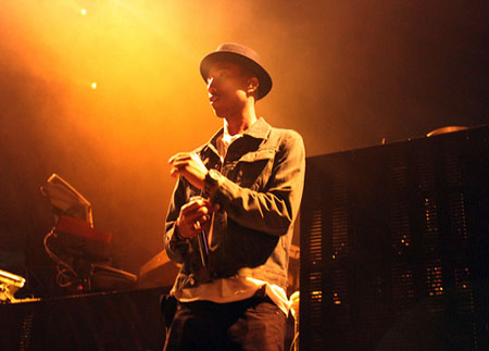 Pharrell Williams in a concert Dec. 7, 2010.
