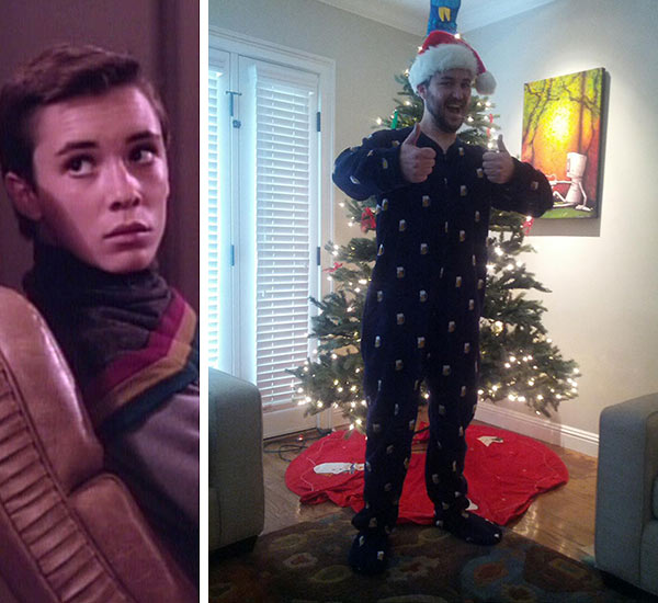...aaand here&#39;s Burton&#39;s former co-star Wil Wheaton in a Christmas onesie. The actor, who played Wesley Crusher on &#39;Star Trek: The Next Generation&#39; and is also known for his role in the Gordie in the 1986 film &#39;Stand By Me,&#39; shared this photo &#40;right&#41; on Dec. 25, 2012 on Twitter.  Wheaton, who has also appeared &#40;as himself&#41; on the CBS sitcom &#39;The Big Bang Theory,&#39; wrote a long Christmas post on his website as well. He said he and his wife and children shared a Christmas Eve &#39;feast&#39; and that the kids, who are &#39;actually adults,&#39; woke him up at 10 so they could all open their gifts.  &#39;I&#39;m so grateful to be with my family today, and so proud of the young men Anne and I raised,&#39; he said &#39;All I wanted for Christmas was to be with my family, and Santa delivered. Big time.&#39;  &#40;Pictured left: Wil Wheaton appears in a scene from &#39;Star Trek: The Next Generation,&#39; which aired between 1987 and 1994.&#41; <span class=meta>( Paramount Television &#47; twitter.com&#47;wilw&#47;status&#47;283667812441010176&#47;photo&#47;1)</span>