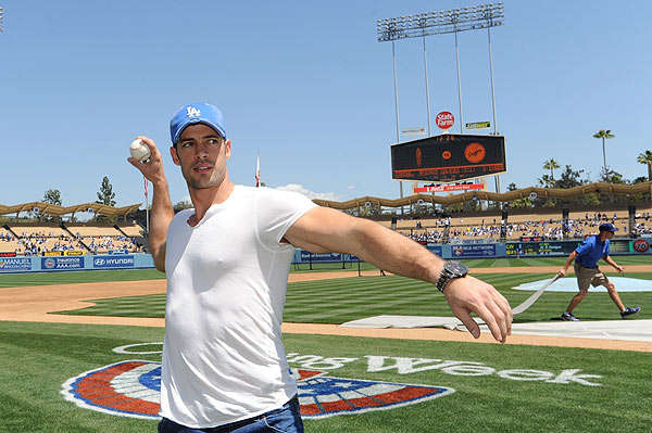 William Levy, a telenovela actor and 'Dancing With The Stars' contestant, appears at Dodger Stadium to cheer on the Los Angeles Dodgers on April 15, 2012.