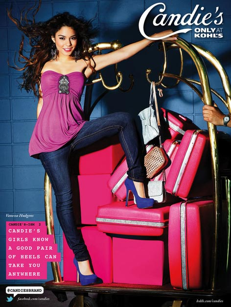 Vanessa Hudgens appears in a promotional photo taken for the a new ad campaign for Candie&#39;s apparel, available at Kohl&#39;s stores, that was unveiled in June 2011. <span class=meta>(Vanessa Hudgens appears in a promotional photo taken for the a new ad campaign for Candie&#39;s apparel, available at Kohl&#39;s stores, that was unveiled in June 2011.)</span>