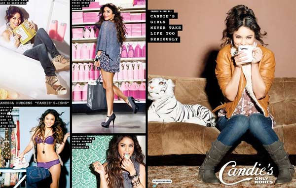 "<div class=""meta ""><span class=""caption-text "">Vanessa Hudgens appears in a promotional photo taken for the a new ad campaign for Candie's apparel, available at Kohl's stores, that was unveiled in June 2011. (Candie's / facebook.com/Candies / candies.com / Iconix Brand Group)</span></div>"