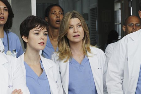 Nora Zehetner (left) as Reed in ABC's hit TV series, 'Grey's Anatomy' with co-star, Ellen Pompeo (right) as Meredith Grey.