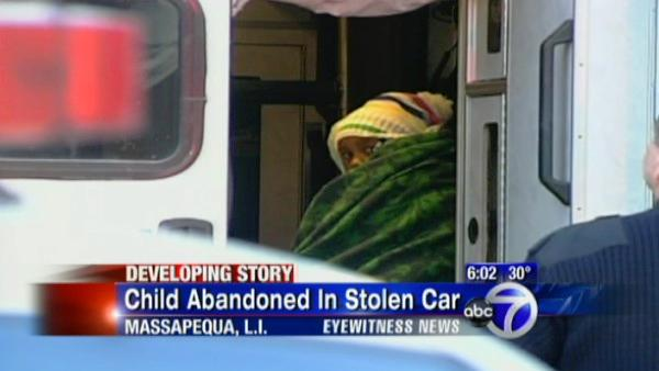Child abandoned in stolen car