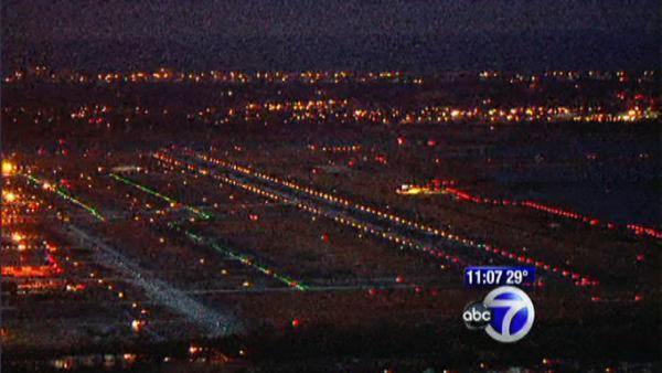 Airport runway lights at night