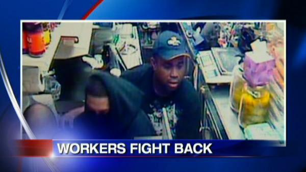 Deli workers fight back against robbers