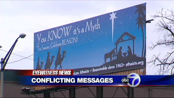 Dueling Christmas billboards
