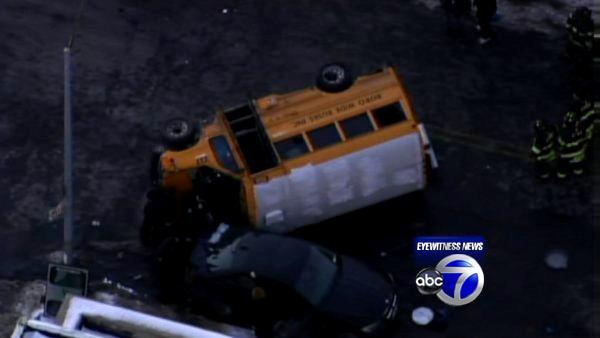 School bus overturns in Brooklyn
