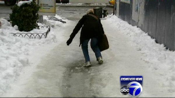 Icy streets pose a hazard for New Yorkers