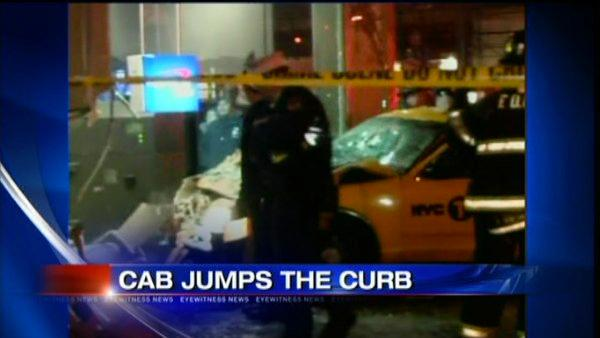 Cab hits pedestrian; slams through bank window